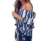 Женская шифоновая блуза в полоску с открытыми плечами 8313379, фото 3