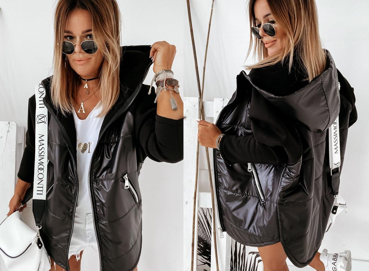 Демисезонная женская куртка с рукавами из трехнитки, с капюшоном и на молнии 1001318