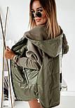 Демисезонная женская куртка с рукавами из трехнитки, с капюшоном и на молнии 1001318, фото 5
