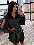 Шелковое платье с юбкой - солнце и разрезами на длинных рукавах 66031538Q, фото 2