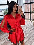 Шелковое платье с юбкой - солнце и разрезами на длинных рукавах 66031538Q, фото 3