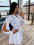 Шелковое платье с юбкой - солнце и разрезами на длинных рукавах 66031538Q, фото 5