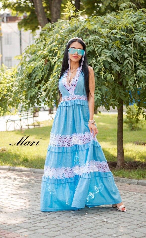 Довге бавовняне плаття з вставками мережива 63031540