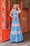 Довге бавовняне плаття з вставками мережива 63031540, фото 3