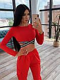 Женский спортивный костюм с топом с перекрутом и штанами с накладными карманами 66051036E, фото 5