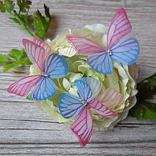 Бабочки из шифона. Большая розовая с голубым..