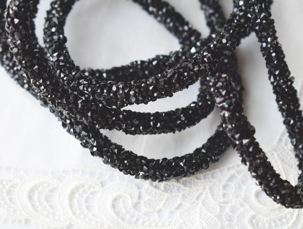 Стразовый шнур, черный, 0,7х10см, Корея