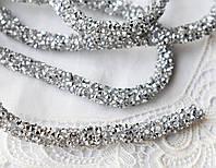 Стразовый шнур, серебро, 0,7х10см, Корея