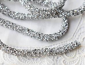 Стразовый шнур, срібло, 0,7х10см, Корея