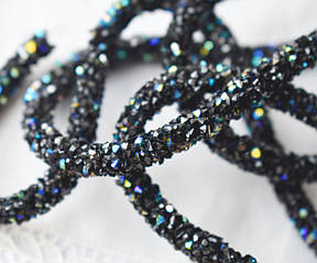 Стразовый шнур, черный АВ, 0,7х10см, Корея