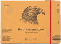 Альбом для эскизов AUTHENTIC (Kraft) А5 (24,5*17,6см), 90г/м2, 24л, коричневый цвет, SMILTAINIS