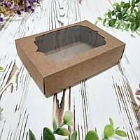 Коробка для подарков с фигурным окном крафт 130х90х35 мм.