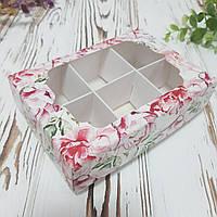 Коробка для конфет с фигурным окном и ложементом c пионами