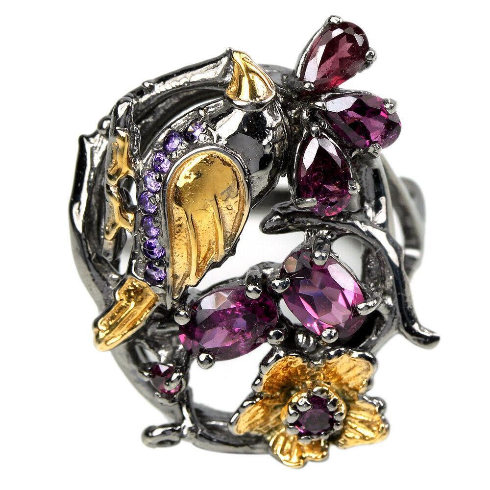 Серебряное кольцо с гранатом родолит, 1483КР