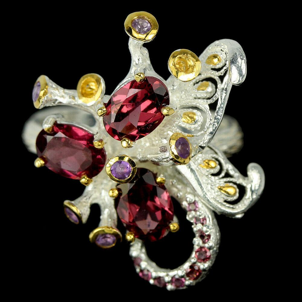 Серебряное кольцо с гранатом родолит, 1484КР