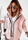 Демисезонная женская куртка с рукавами из трехнитки, с капюшоном и на молнии 10kr318, фото 3