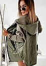 Демисезонная женская куртка с рукавами из трехнитки, с капюшоном и на молнии 10kr318, фото 5