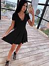 Платье из трикотажа рубчик с расклешенной юбкой солнце и коротким рукавом 66py1537Q, фото 2
