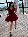 Платье из трикотажа рубчик с расклешенной юбкой солнце и коротким рукавом 66py1537Q, фото 3