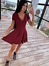 Платье из трикотажа рубчик с расклешенной юбкой солнце и коротким рукавом 66py1537Q, фото 4