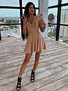 Платье из трикотажа рубчик с расклешенной юбкой солнце и коротким рукавом 66py1537Q, фото 5