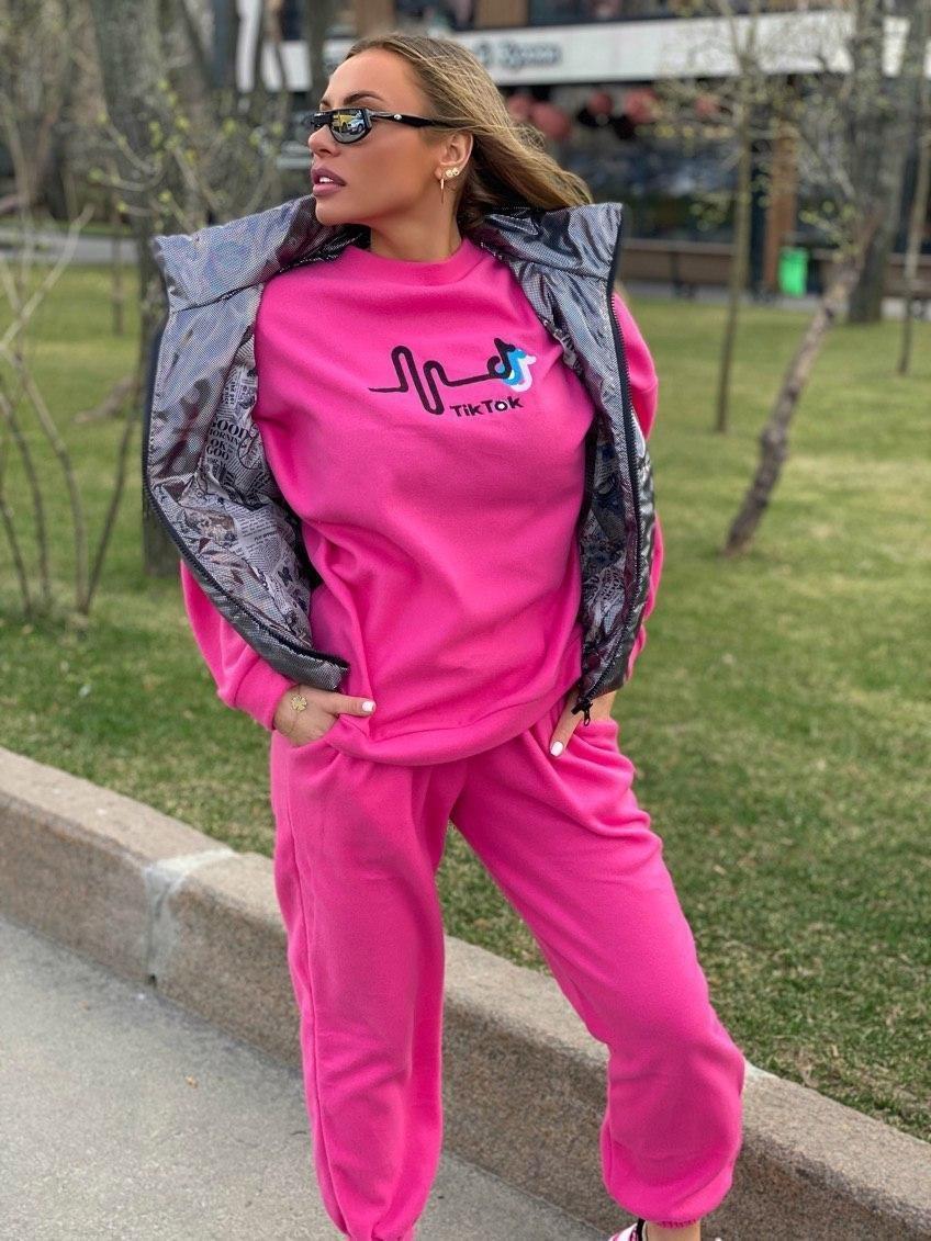 Женский костюм тройка со свитшотом и стеганным жилетом 18so1029