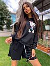 Женский костюм с шортами и свободным свитшотом с рисунком 5ks1068, фото 4