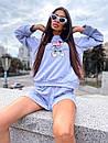 Женский костюм с шортами и свободным свитшотом с рисунком 5ks1068, фото 5