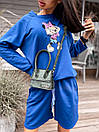 Женский костюм с шортами и свободным свитшотом с рисунком 5ks1068, фото 7