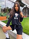 Женский костюм с шортами и свободным свитшотом с рисунком 5ks1068, фото 9