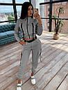 Женский костюм тройка с джоггерами, топом на молнии и укороченной мастеркой 66ks1071Q, фото 2