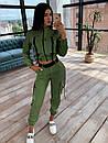 Женский костюм тройка с джоггерами, топом на молнии и укороченной мастеркой 66ks1071Q, фото 3