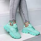 Мятные женские спортивный кроссовки на шнуровке OB4924, фото 2