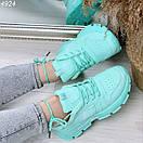 Мятные женские спортивный кроссовки на шнуровке OB4924, фото 4