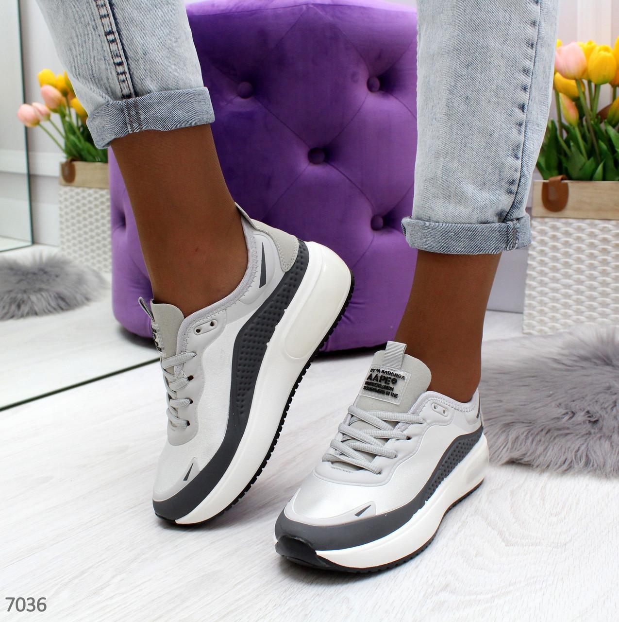 Женские кроссовки на белой подошве со шнуровкой OB7036