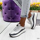 Женские кроссовки на белой подошве со шнуровкой OB7036, фото 3