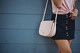 Сумка сідло жіноча стильна. Сумочка з еко шкіри річна напівкругла (рожева), фото 2