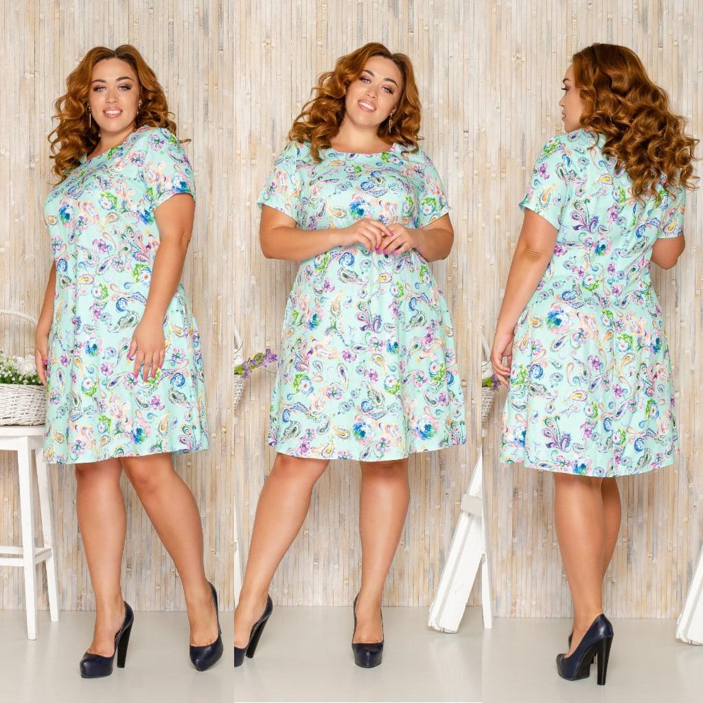 Платье летнее повседневное больших размеров из льна, разные цвета р.52,54,56,58 Код 136Й