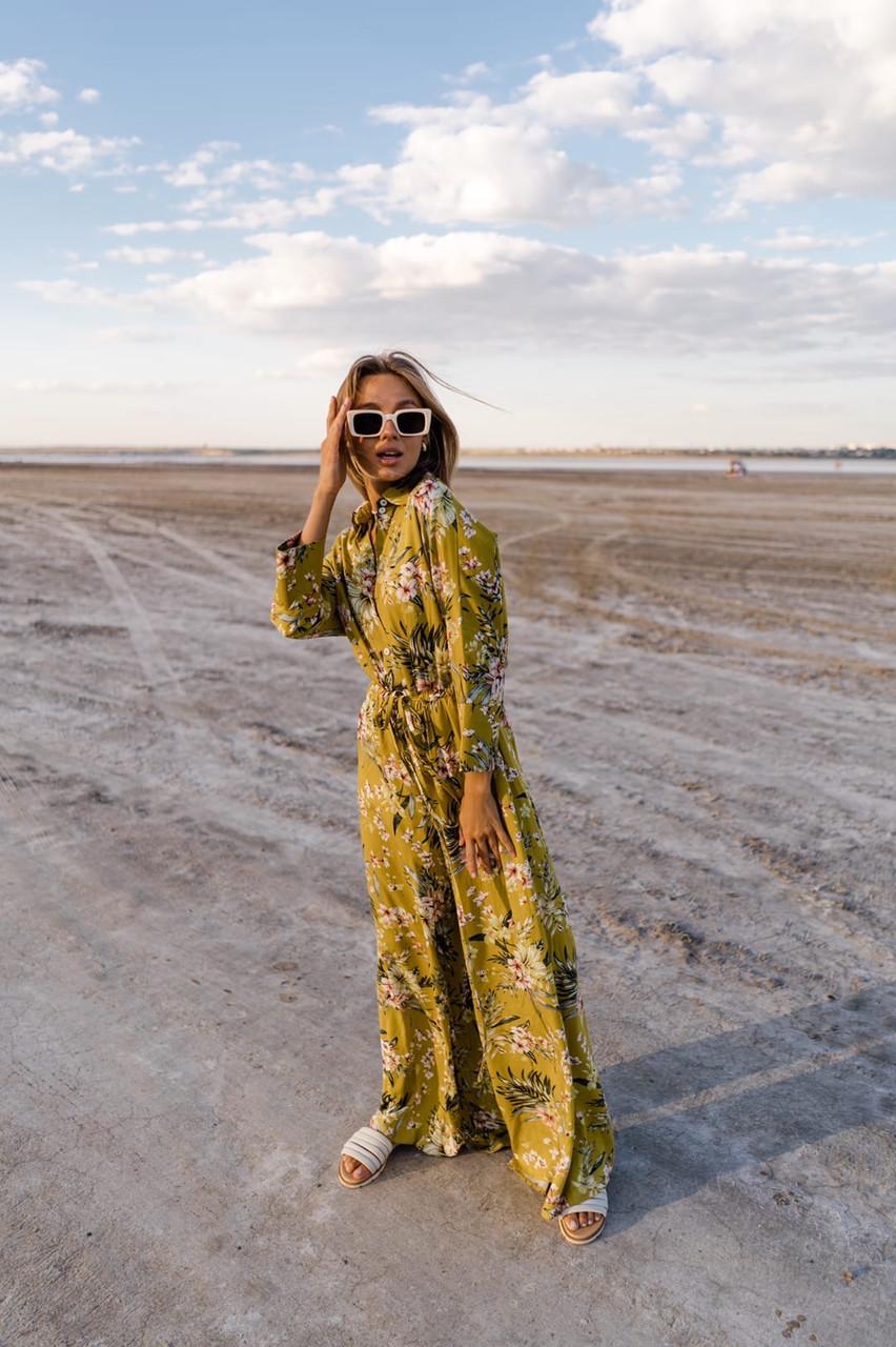 Принтованный женский комбинезон с рубашечным верхом и брюками клеш 14kos1064