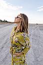 Принтованный женский комбинезон с рубашечным верхом и брюками клеш 14kos1064, фото 2