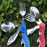 Нож раскладной мультитул вилка, ложка, открывалка, фото 4