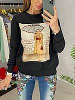 Женский повседневный свитшот с рисунком спереди 33dmde842