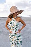 Льняной женский комбинезон в принт с брюками клеш и верхом без рукава 14mko1065, фото 1