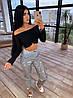 Женский брючный костюм со светоотражающими штанами с узором и черным топом с открытыми плечами 66mko1073Q