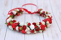 Веночек с цветами кремово-красный 273