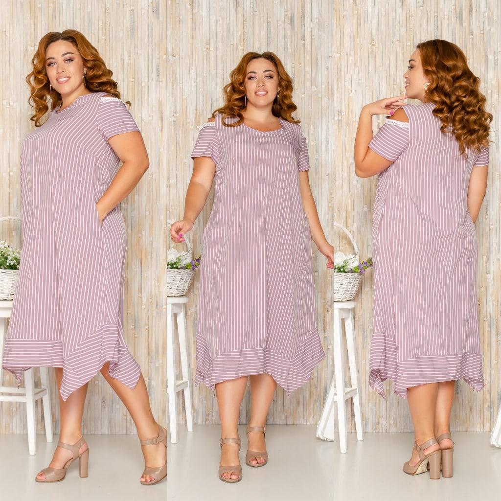 Платье летнее с ассиметричным кроем и открытыми плечами софт, разные цвета, р.52,54,56,58 код 115Й