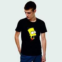 Мужская футболка. Печать на футболке. Барт Симпсон