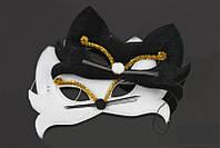 Маска карнавальная черный и белый кот