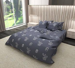 Полуторный комплект постельного белья  Бязь Gold размер 150х215 см Серый с кактусами