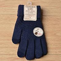 Вязанные перчатки для сенсорных экранов iTouch Темно-синий